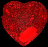 Red Broken crystal Heart: unrequited love. Death, disease or pain. Isolated on black Stock Images