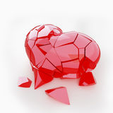 Red broken heart. On the white background Stock Photography