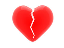 Red broken heart. Abstract 3d illustration background Royalty Free Stock Image