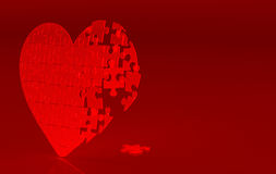 Red broken heart. Broken halves of puzzle heart. Postcard royalty free illustration