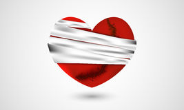 Red broken heart with bandage for Valentines Day. Royalty Free Stock Image