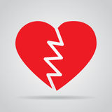 Red broken heart icon with shadow on a gray background Royalty Free Stock Photos