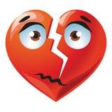 Red broken heart. Sad broken cute red heart cartoon illustration Royalty Free Stock Image