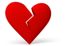 Red broken heart symbol diagonal view Royalty Free Stock Photos