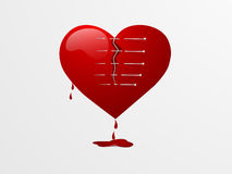 Red broken heart for Valentines Day. Royalty Free Stock Images