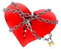 Red Broken Heart, wrapped in chain. Secured royalty free illustration