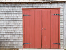 Red Brown Barn Doors to old farm structure. Repainted Red Brown Barn Doors to old farm structure Royalty Free Stock Images