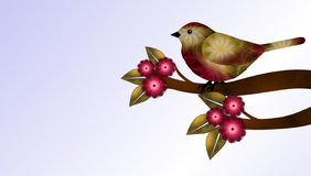 Red and Brown Bird and Flowers Royalty Free Stock Images