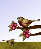 Red and Brown Birds and Flowers Royalty Free Stock Photography