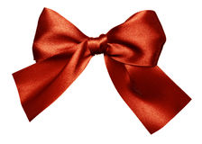 Red brown bow made from silk Stock Image