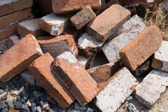 Red brown brickbat on floor Royalty Free Stock Photo