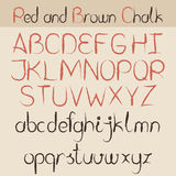 Red and brown chalk alphabet. Red and brown chalk hand drawing alphabet set Royalty Free Stock Images