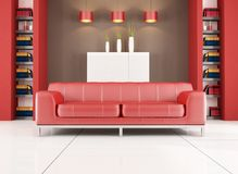 Red and brown contemporary living room Royalty Free Stock Images