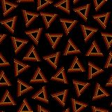 Red and brown dot art chaotic triangles geometric ethnic seamless pattern on black, vector. Background Stock Photo