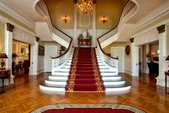 Red and Brown Floral Stair Carpet Royalty Free Stock Image