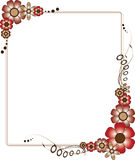 Red and Brown Flowery Frame Stock Photography