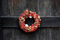 Red and Brown Fruits Wreath stock photos