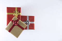 Red and brown Gift Boxes and Ribbons. Gift Boxes and Ribbons Stock Photo