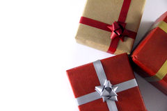 Red and brown Gift Boxes and Ribbons. Gift Boxes and Ribbons Royalty Free Stock Photos
