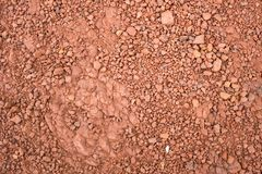 Red Brown Gravel or Soil Texture Background for Design. Real gravel texture background and small stone on ground stock photos