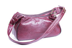 Red - brown leather women purse Royalty Free Stock Image