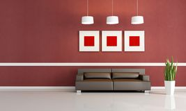 Red and brown living room Royalty Free Stock Photos
