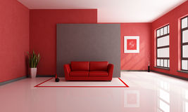 Red and brown living room. Red and brown minimalist living room - rendering - the art picture on wall is a my composition Stock Photo