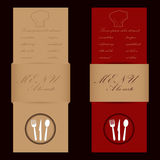 Red and brown menu cards for restaurant Royalty Free Stock Photography
