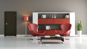 Red and brown modern living room Stock Photos