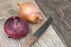 Red and brown onion with kitchen knife Stock Image