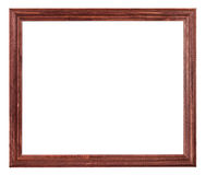 Red brown painted narrow wooden picture frame Royalty Free Stock Photography