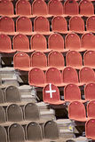 Red and brown seats. In the amphitheatre Stock Photo
