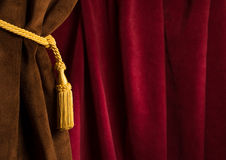 Red and brown theatre curtain Royalty Free Stock Photos