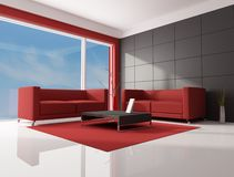 Red brown and white living room Stock Image