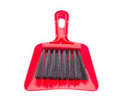 Red brush and plastic dustpan. Royalty Free Stock Images