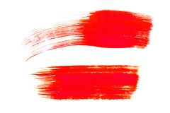 Red brush strokes isolated on white background. Red abstract stroke. Colorful watercolor brush stroke stock photography