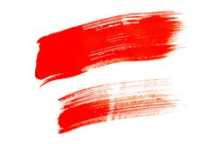 Red brush strokes isolated on white background. Red abstract stroke. Colorful watercolor brush stroke stock photos