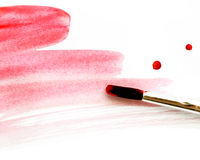 Red brush strokes paint isolated on white background. Royalty Free Stock Photo