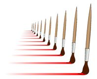 Red brushes. Painting red stripes with various brushes Stock Photography
