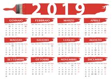 2019 red brushes calendar italian festivity. 2019 red brushes style calendar with italian religious festivity, national holidays and language vector illustration