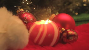 Red buable and ball candle stock footage