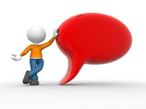 Red bubble. 3d people - man, person with empty speech bubble Stock Images