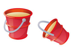 Red bucket. Child's toy red bucket in a white background Stock Photography