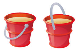 Red bucket. Child's toy red bucket in a white background Royalty Free Stock Photo