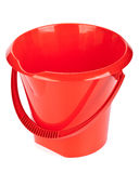Red bucket. Red household bucket on a white background royalty free stock photo