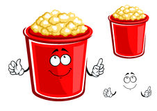 Red bucket of caramel popcorn Stock Image
