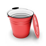 Red bucket with cover removed Stock Images