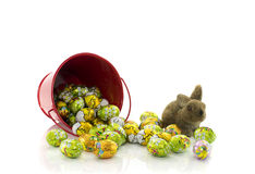 Red bucket with easter eggs Royalty Free Stock Images