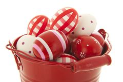 Red bucket easter eggs Stock Image