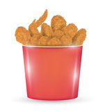 Red bucket full of a fried chicken on a white background. A red bucket full of a fried chicken on a white background Royalty Free Stock Photos